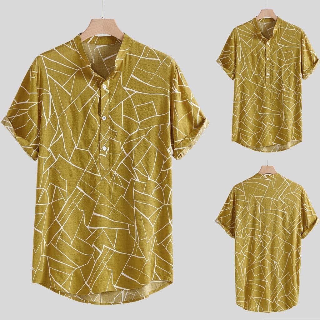 CAOQAO Camisa Hombre Manga Corta Hawaiana Blusa de Poliéster Suelta Amarilla: Amazon.es: Ropa y accesorios