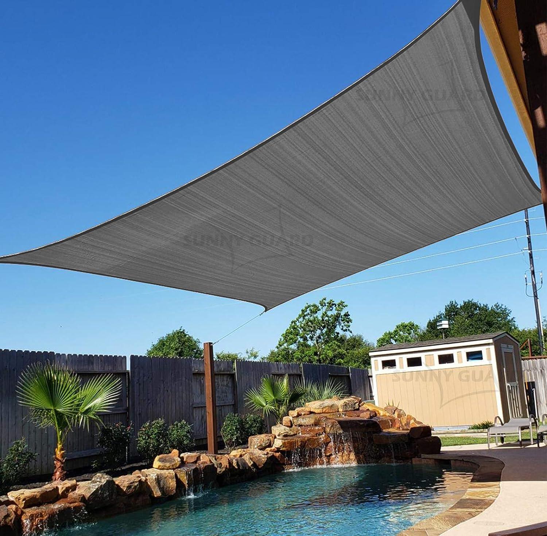 SUNNY GUARD 16' x 20' Charcoal Rectangle Sun Shade Sail UV Block for Outdoor Patio Garden