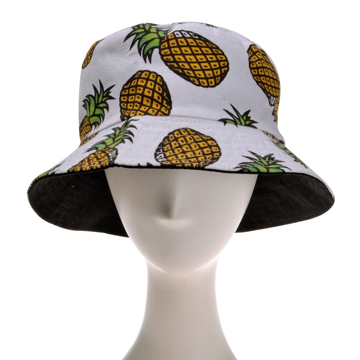 8da7de68771 ZLYC Unisex Cute Pineapple Print Bucket Hat Summer Fisherman Cap ...