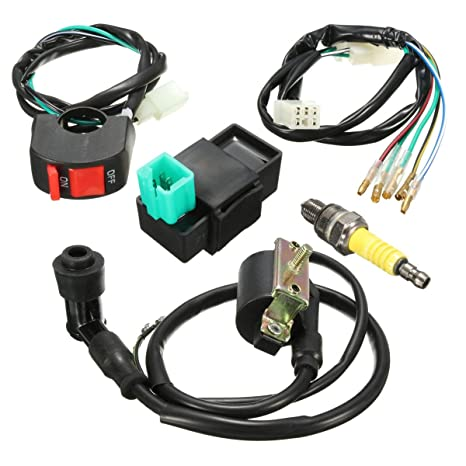 Amazon.com: Wiring Loom Kill Switch Coil Spark Plug Kit For ... on cdi wiring, motorcycle start switch, motorcycle handlebar bags, motorcycle universal kill switch and starter, motorcycle on off switch, motorcycle led rocker switch, motorcycle tether kill switch, motorcycle light switch, motorcycle ignition system diagram,