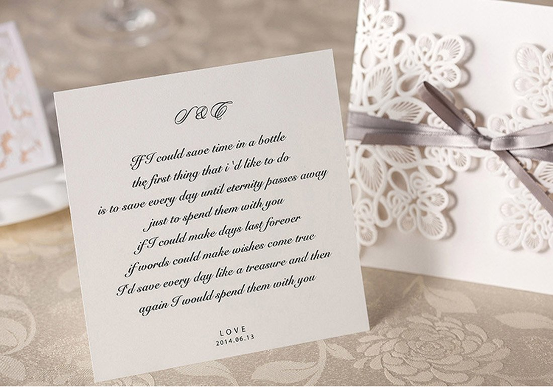 Wishmade Wedding Invitations Kits 50X with Ivory Lace Design Laser ...