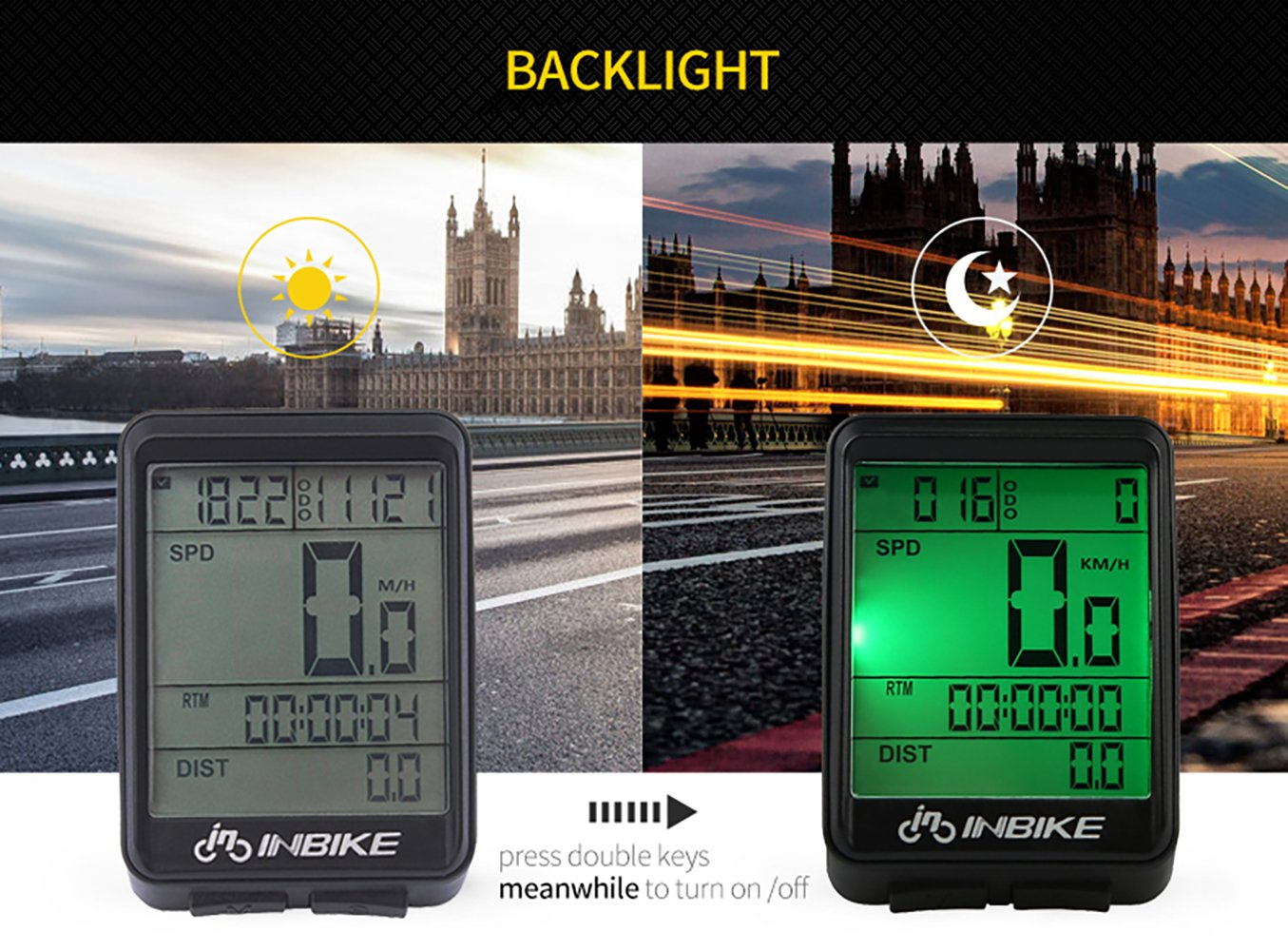 Bike Computer Speedometer Wireless Waterproof Bicycle Odometer Cycle Computer Multi-Function Large LCD Back-light Display by DD&DEE (Image #4)