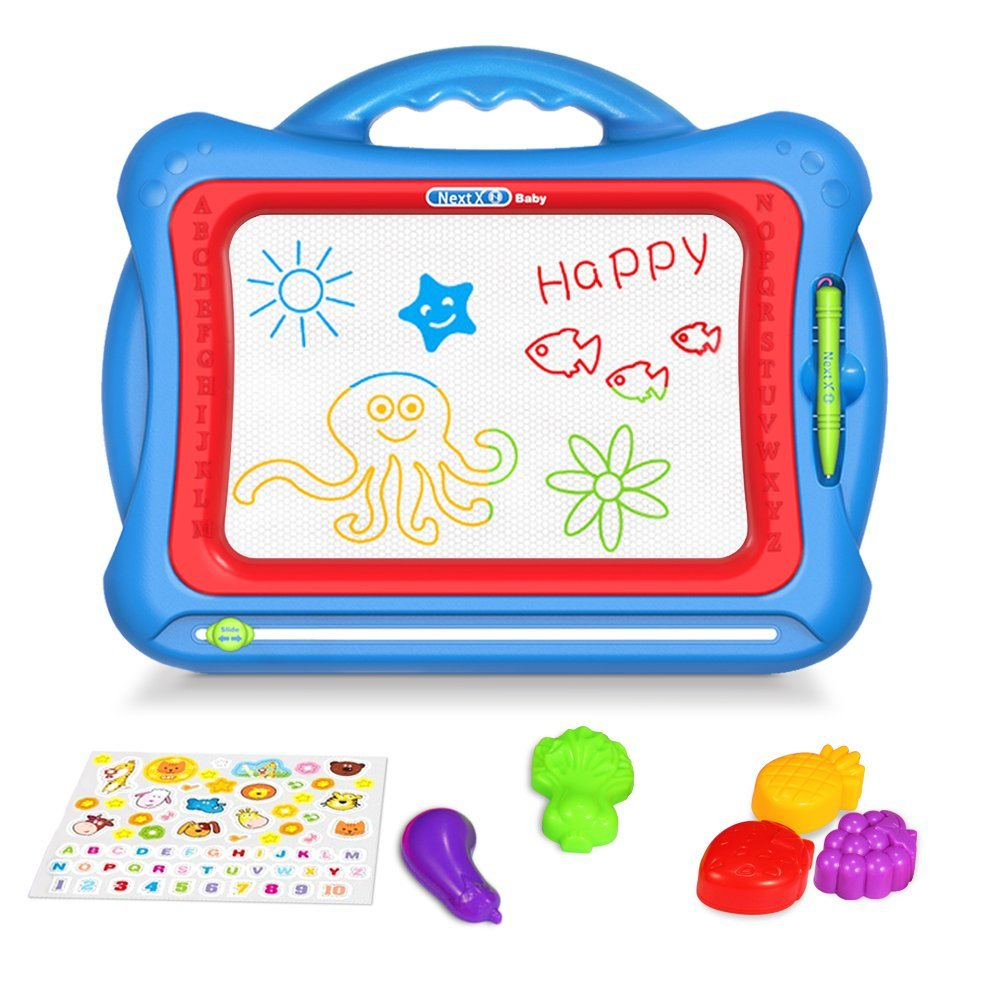 Geekper GP-MB1 Magnetic Drawing Board, 15.75 Inch Erasable Colorful Magna Doodle Toys Writing Sketching Pad,Set with 5 Shape Stamps and Lovely Sticker