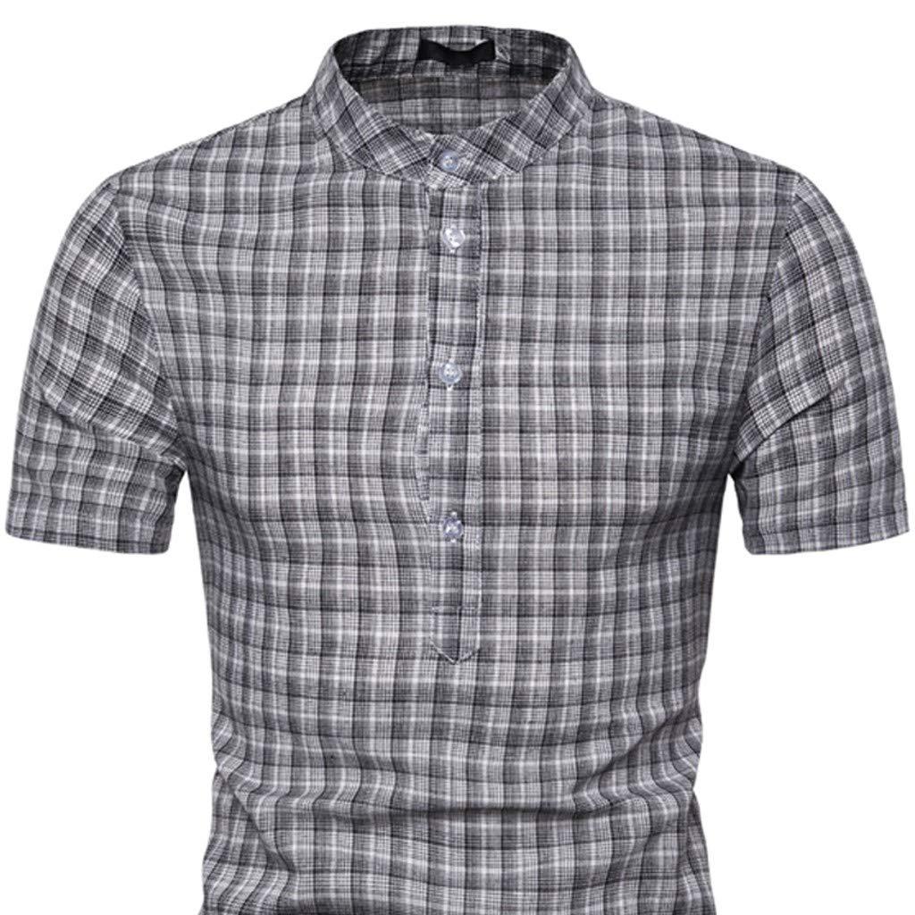iYBUIA Plaid T-Shirts for Mens Standard-Fit Lapel Short Sleeve Button Henry Plaid Poplin Shirt