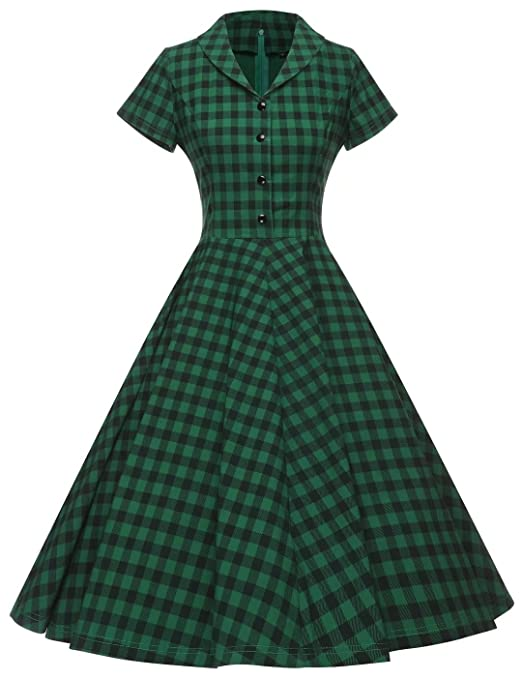 Swing Dance Dresses | Lindy Hop Dresses & Clothing GownTown Womens 1950s Vintage Cap Sleeve Plaid Swing Dress with Pockets $38.98 AT vintagedancer.com