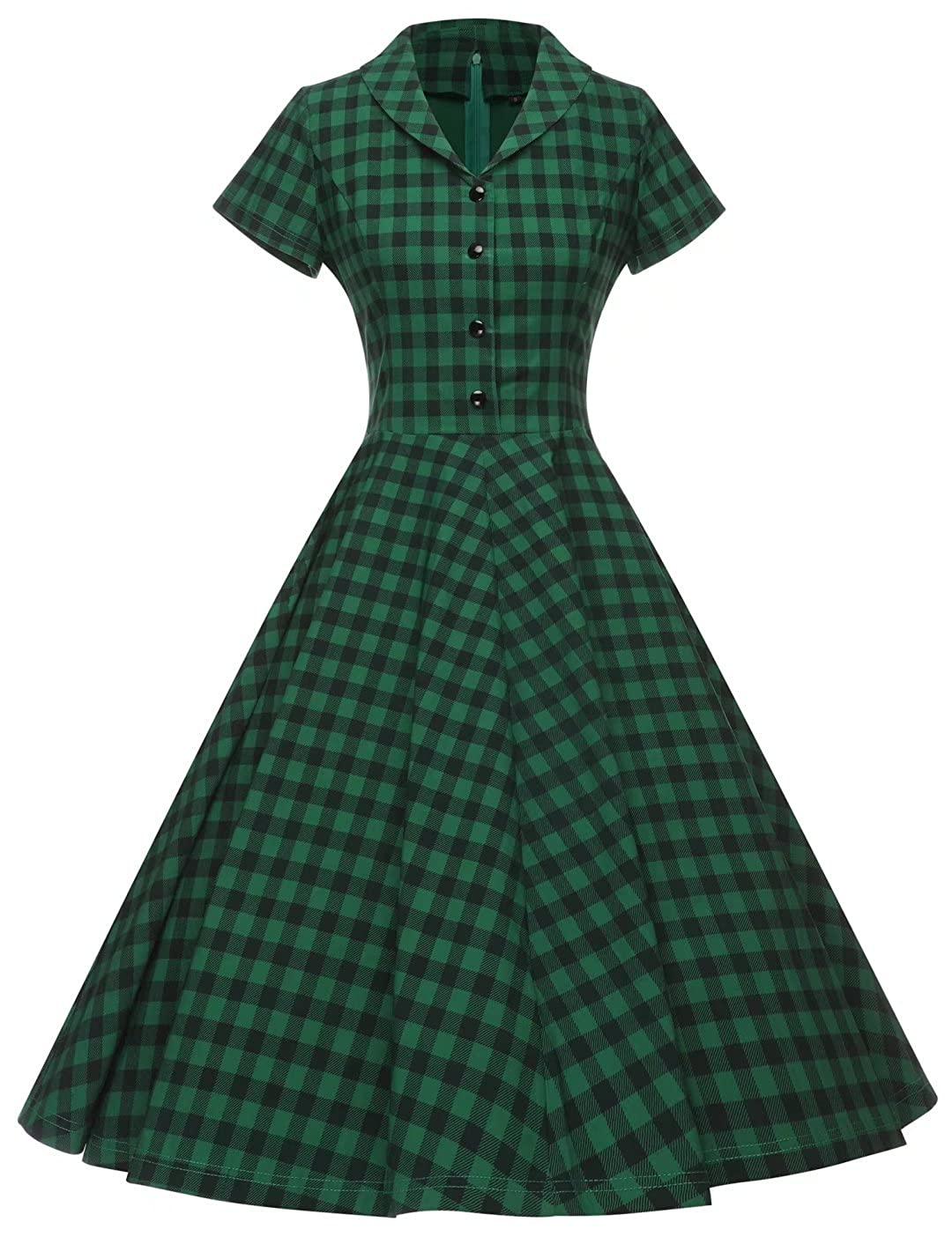 1940s Day Dress Styles, House Dresses GownTown Womens 1950s Vintage Cap Sleeve Plaid Swing Dress with Pockets $38.98 AT vintagedancer.com