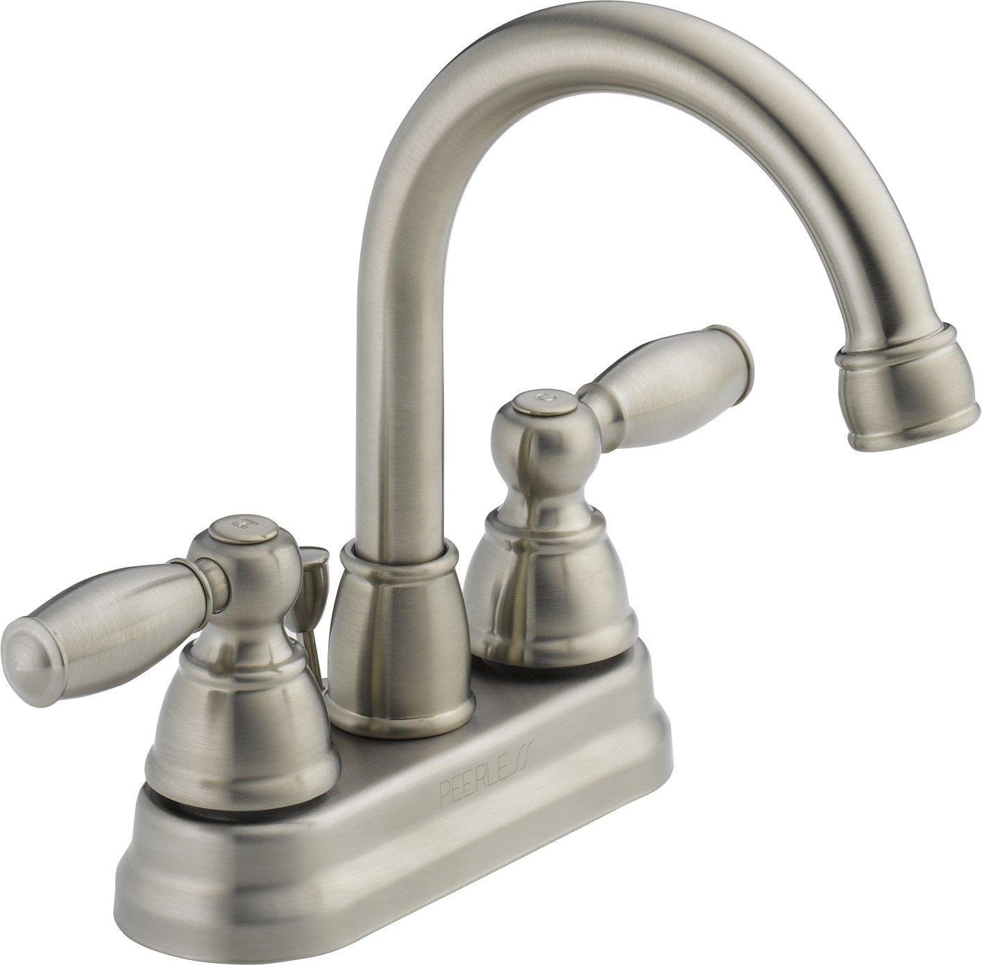 Peerless P299685LF-BN-W Two Handle Lavatory Faucet, Brushed Nickel ...