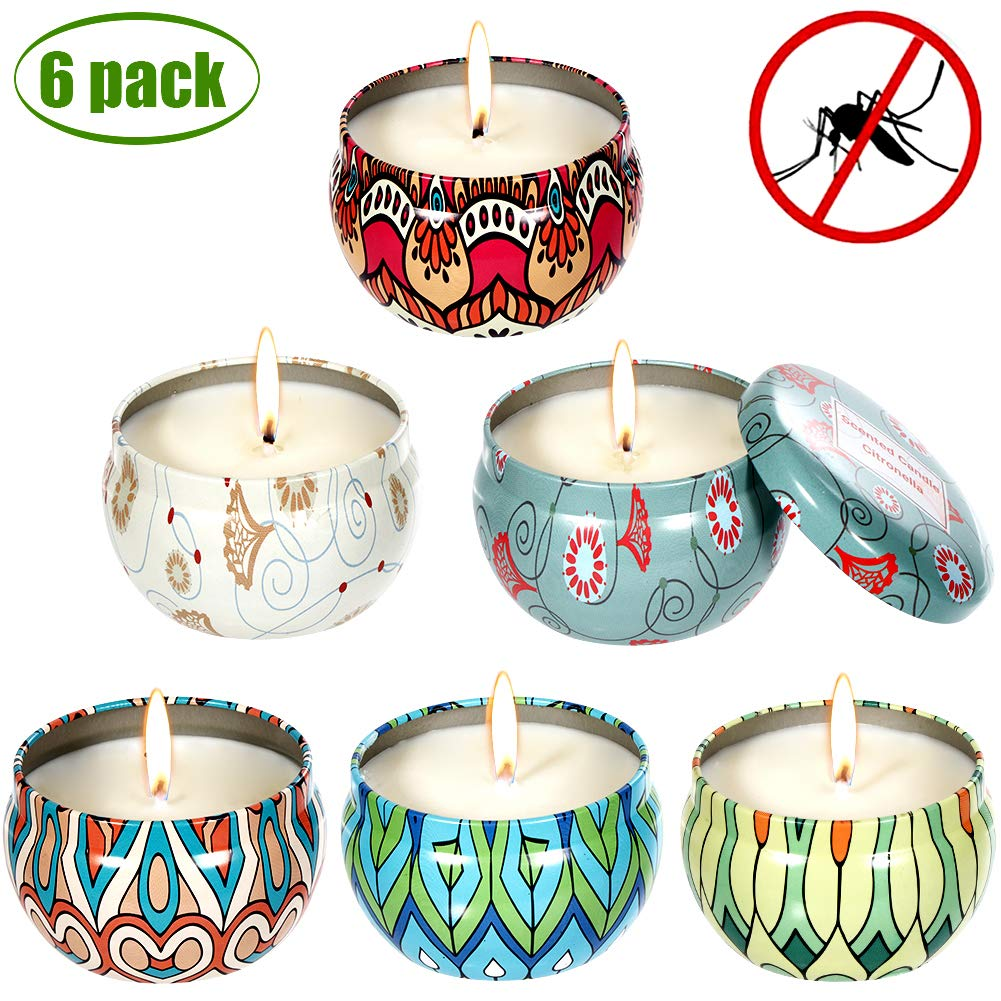 Melophy Citronella Candles, Outdoor Indoor 6 Pack Natural Scented Candles, 100% Pure Soy Wax Candle Portable Travel Tin 2.5 oz, Gift Set