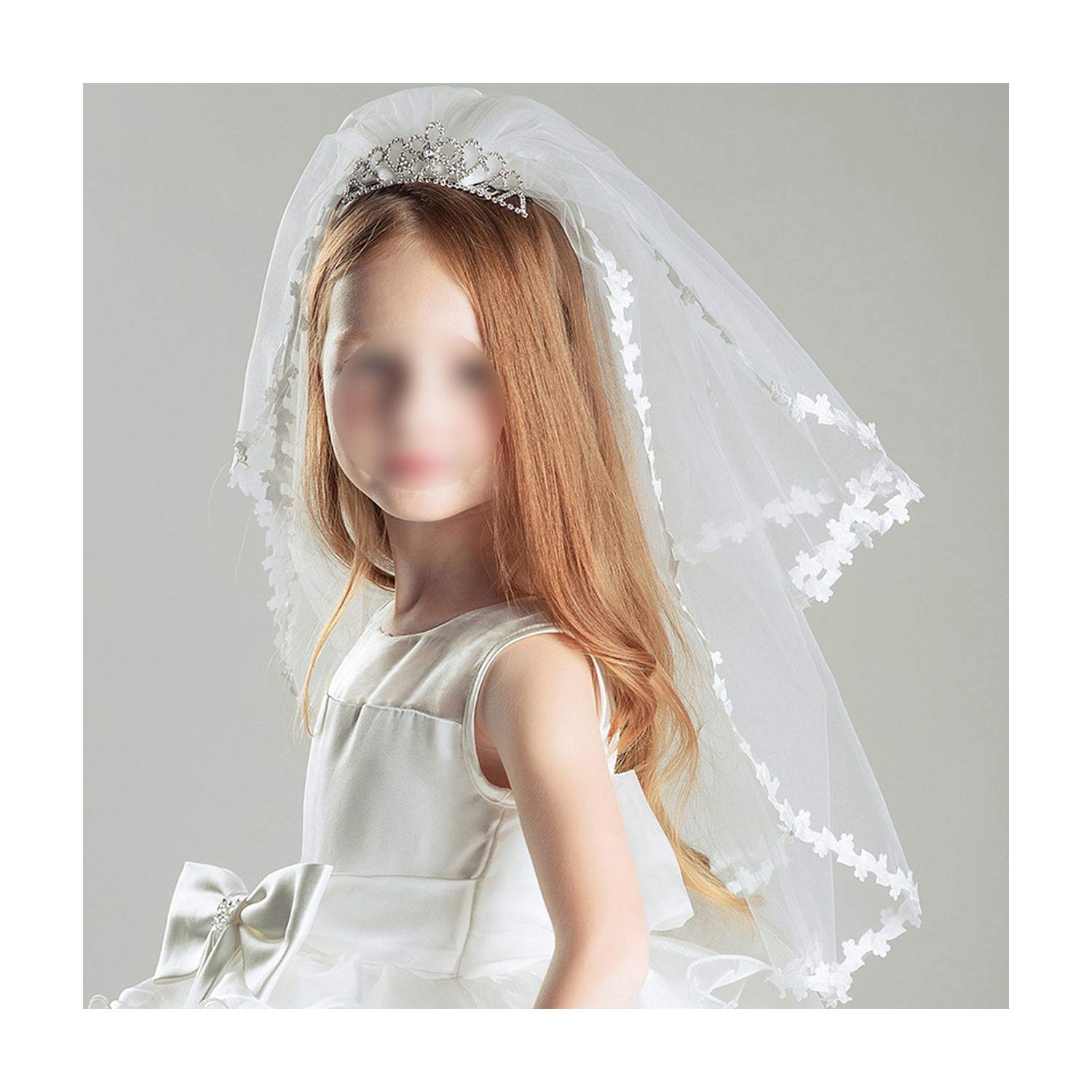 Kids Girls First Communion Veils Double Layers With Comb Wedding Flower Girl Veil,White