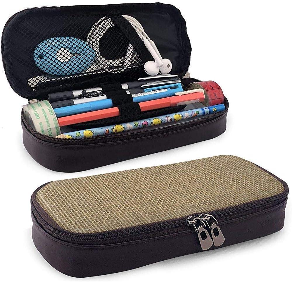 Bolso de cuero de la cremallera del bolso del lápiz del cuero de la PU, paño de saco de arpillera beige tejido natural