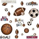 Lunarland Sports 25 BiG Wall Stickers FOOTBALL BASKETBALL SOCCER Room Decor Ball Decals