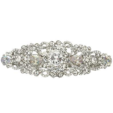 EVER FAITH Women's Austrian Crystal Wedding Bridal Art Deco Flower Headband Tiara Clear Silver-Tone TiiBDGd
