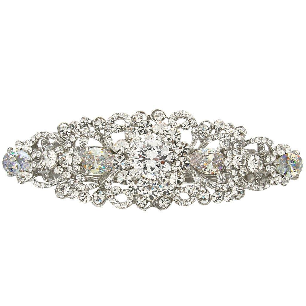 EVER FAITH Silver-Tone Austrian Crystal CZ Bridal Art Deco Flower Vine Hair Barrette Clip Clear