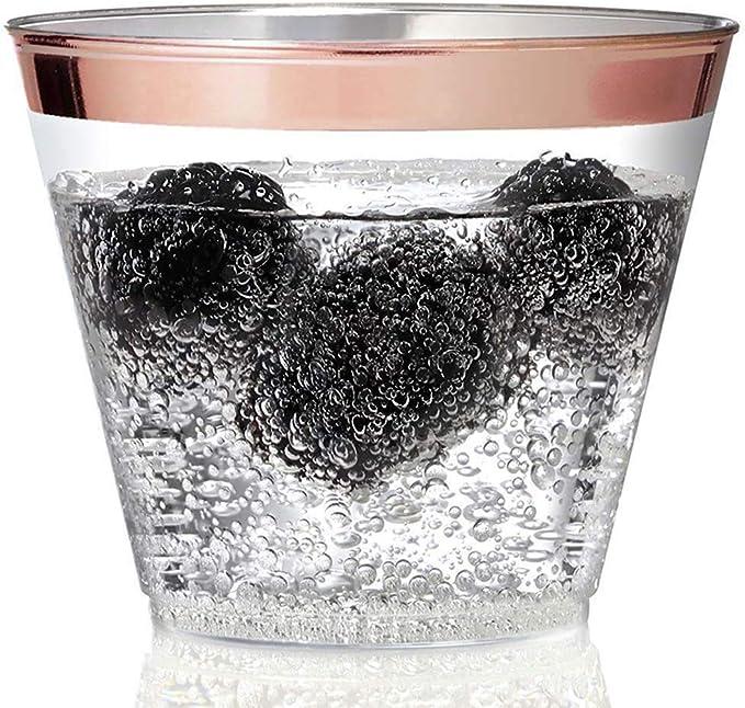 100/Silber Kunststoff Tassen 9/oz Silber mit Rand Tumbler klar Kunststoff Einweg Cups f/ür Hochzeit Party