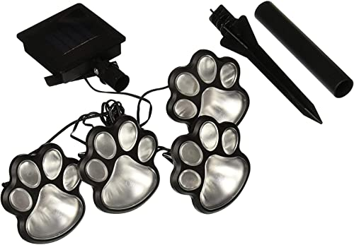 Outdoor Lighting 4 Solar Dog Animal paw Print Lights Garden Statue Lantern LED Path 3 Light lamp