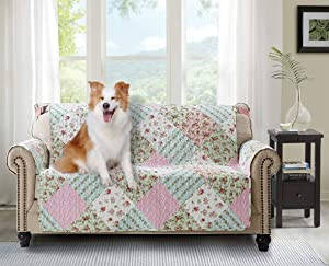 """Brilliant Sunshine Pink and Green Rose Patchwork, Reversible Loveseat Protector for Seat Width up to 54"""", Furniture Slipcover, 2"""" Strap, Couch Slip Cover for Pets, Kids, Dogs, Love Seat, Pink Green"""
