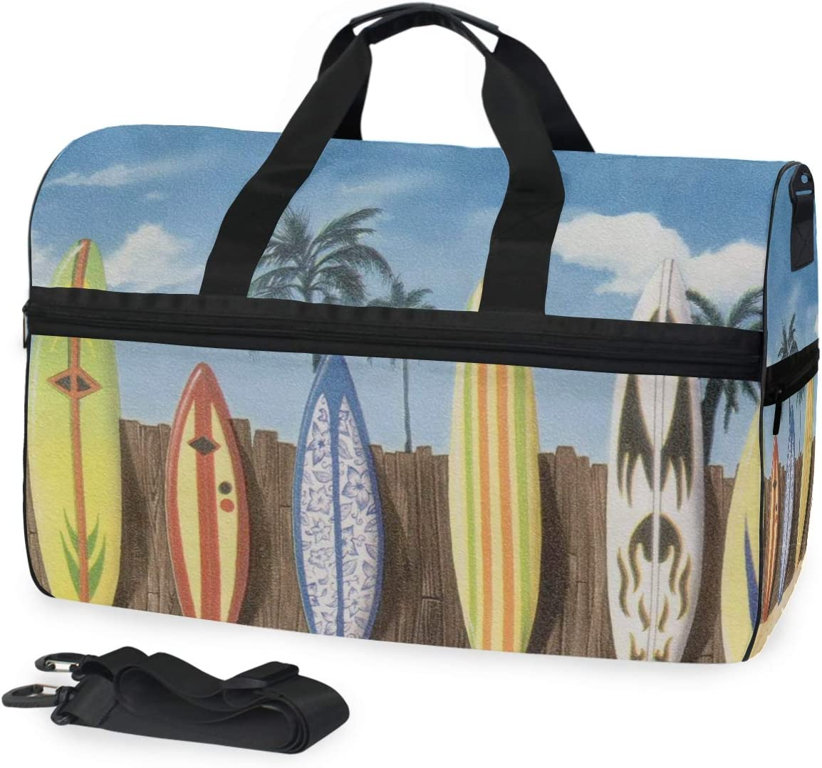 MUOOUM Beach Colorful Surfboard Large Duffle Bags Sports Gym Bag with Shoes Compartment for Men and Women