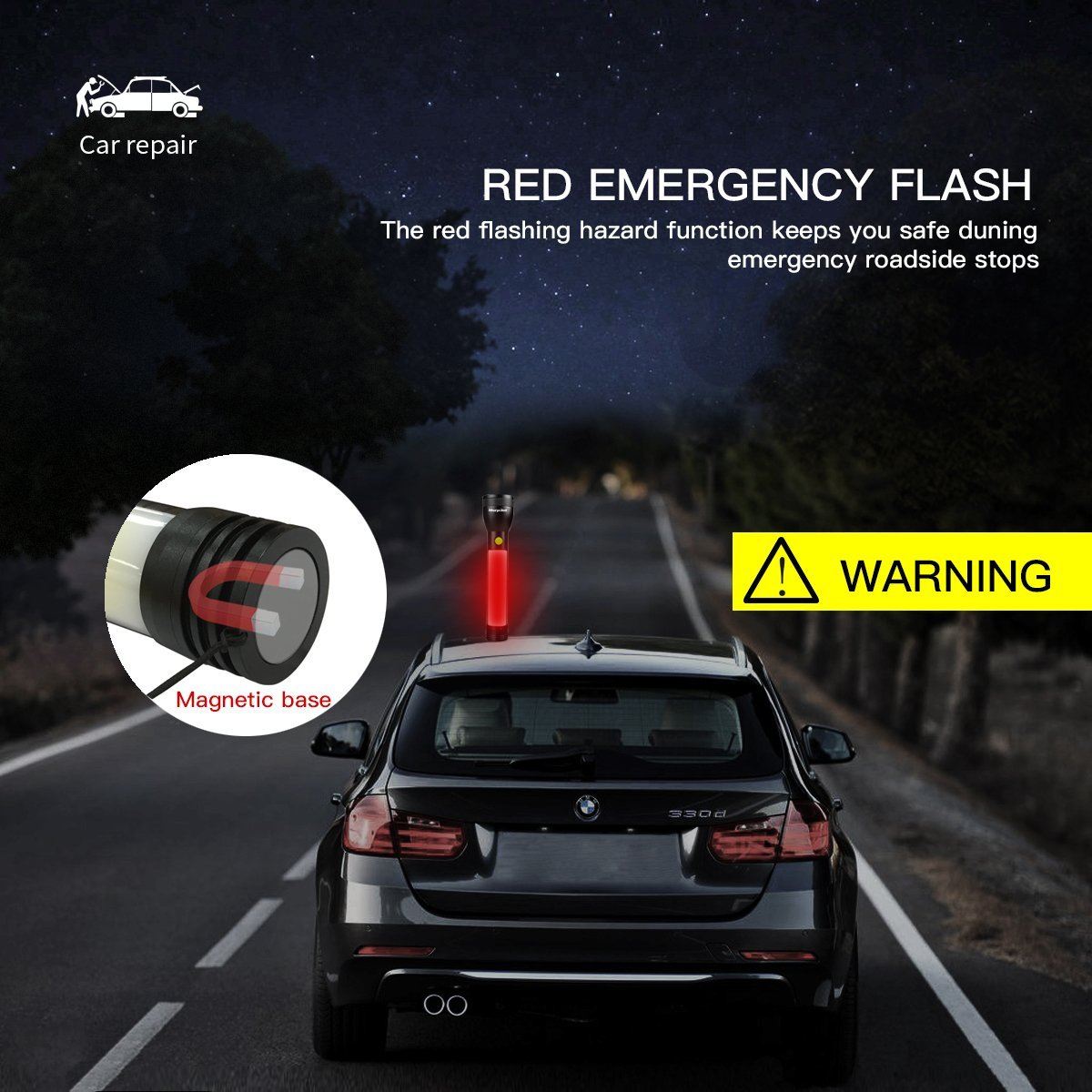 Emergency Work LED Flashlight, Morpilot 2in1 7 Lighting Modes with Magnetic Base and Red Light Ultra Bright COB Light , for Car, Hiking, Hurricane, Outage, Garage