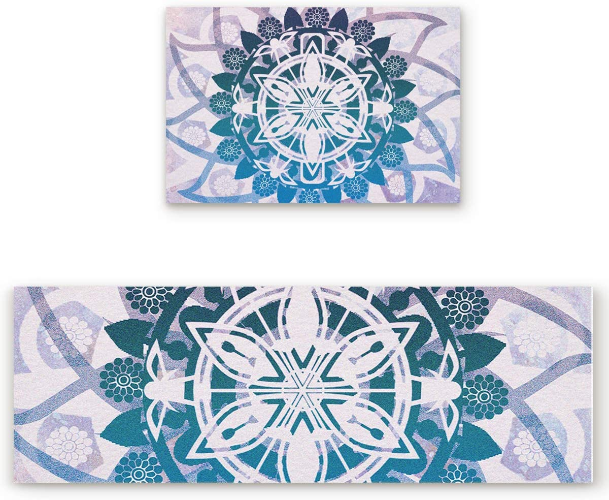 2 Pcs Kitchen Mats Runner Rug Set Anti Fatigue Standing Mat Rubber Backing Abstract Glass Geometric Purple Mandala Print Washable Floor Mat Area Rug for Home Office