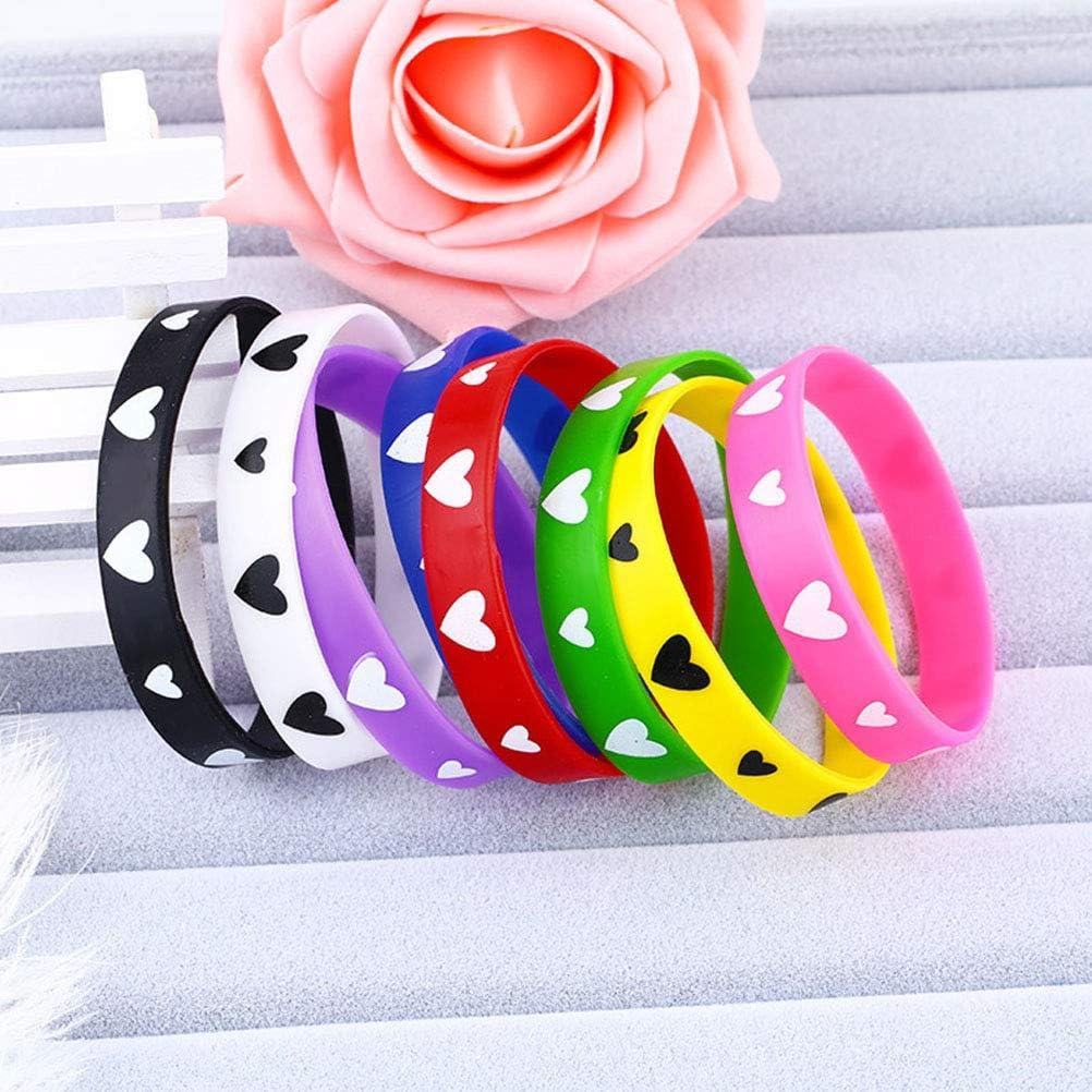BESTOYARD Nette Silikon Armb/änder Armband Liebe Muster Band Erwachsene Kinder Hand Dekoration 20 st/ücke, Mischfarbe
