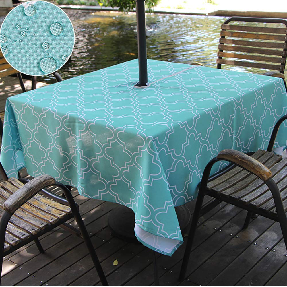 Do4U Waterproof Table Cloth Indoor Outdoor Tablecloth with Zipper and Umbrella Hole 60 60 Square, Turquoise