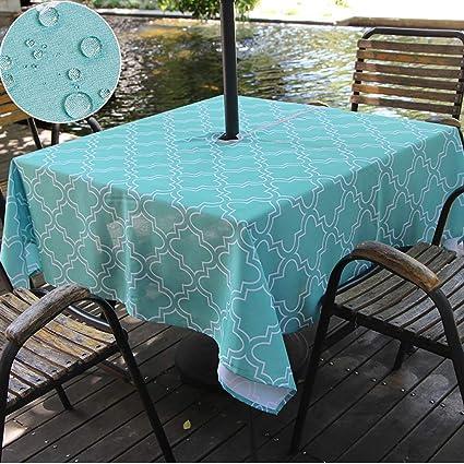 Amazon.com & Do4U Waterproof Table Cloth Indoor/Outdoor Tablecloth with Zipper and Umbrella Hole (60\