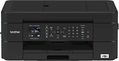 Brother Wireless All-in-One Inkjet Printer, MFC-J491DW, Multi-Function Color Printer, Duplex Printing, Mobile Printing,Amazon Dash Replenishment Enabled, Black, 8.5 MFCJ491DW