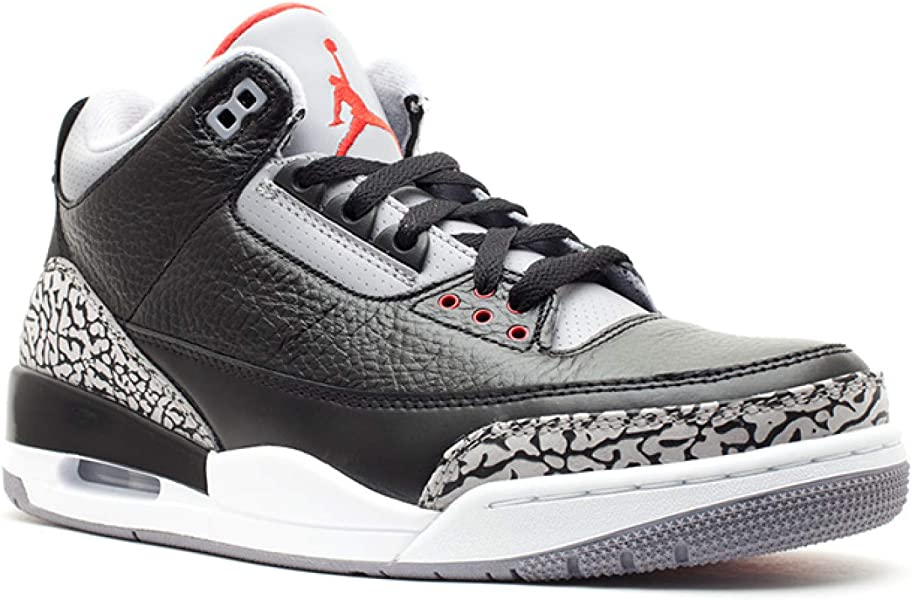 reputable site 17941 a1de1 Amazon.com   Nike Mens Air Jordan 3 Retro Black Varsity Red-Cement Grey  Leather Size 9   Basketball