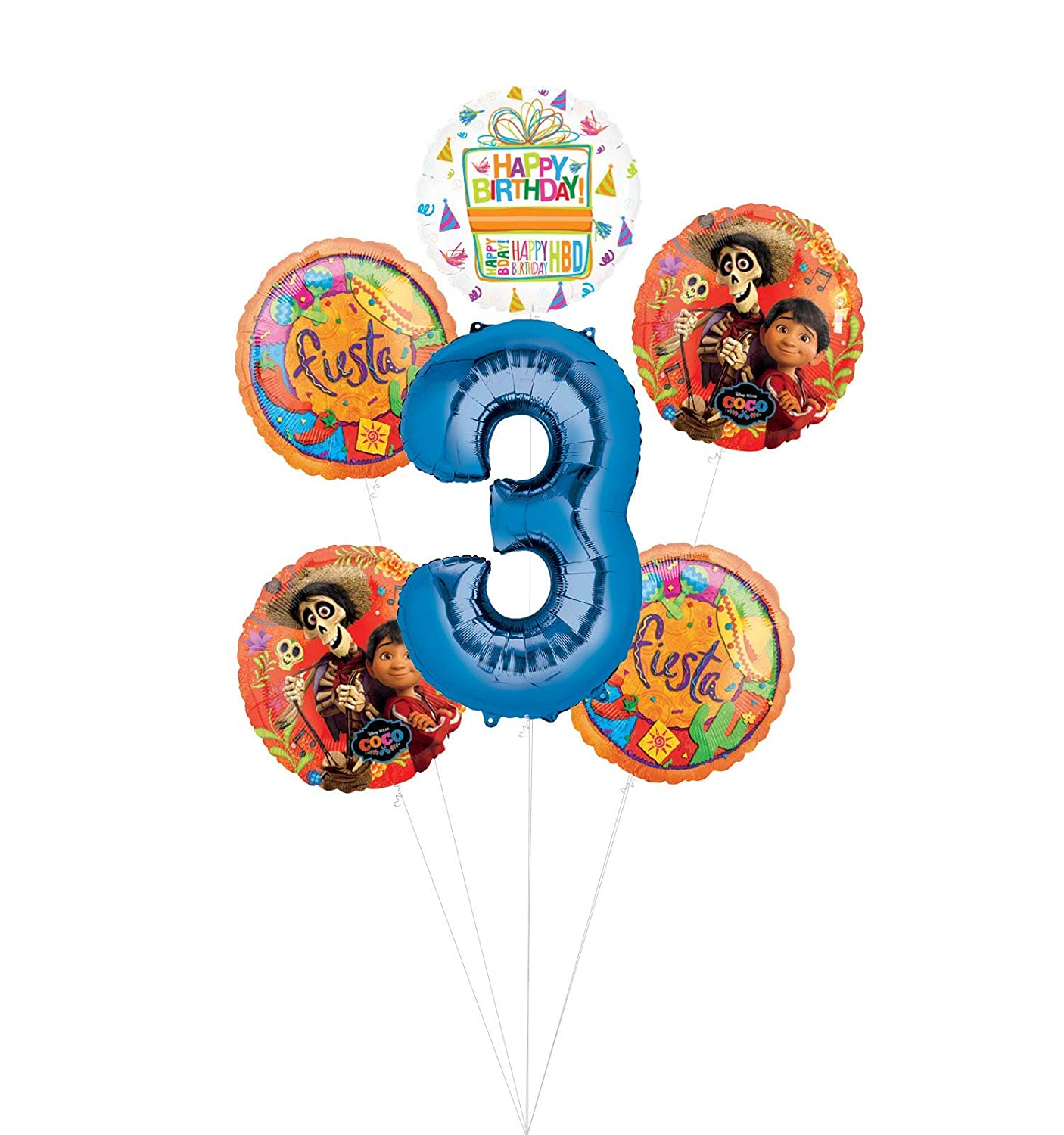 Coco Party Supplies 3rd Birthday Fiesta Balloon Bouquet Decorations Blue Number 3