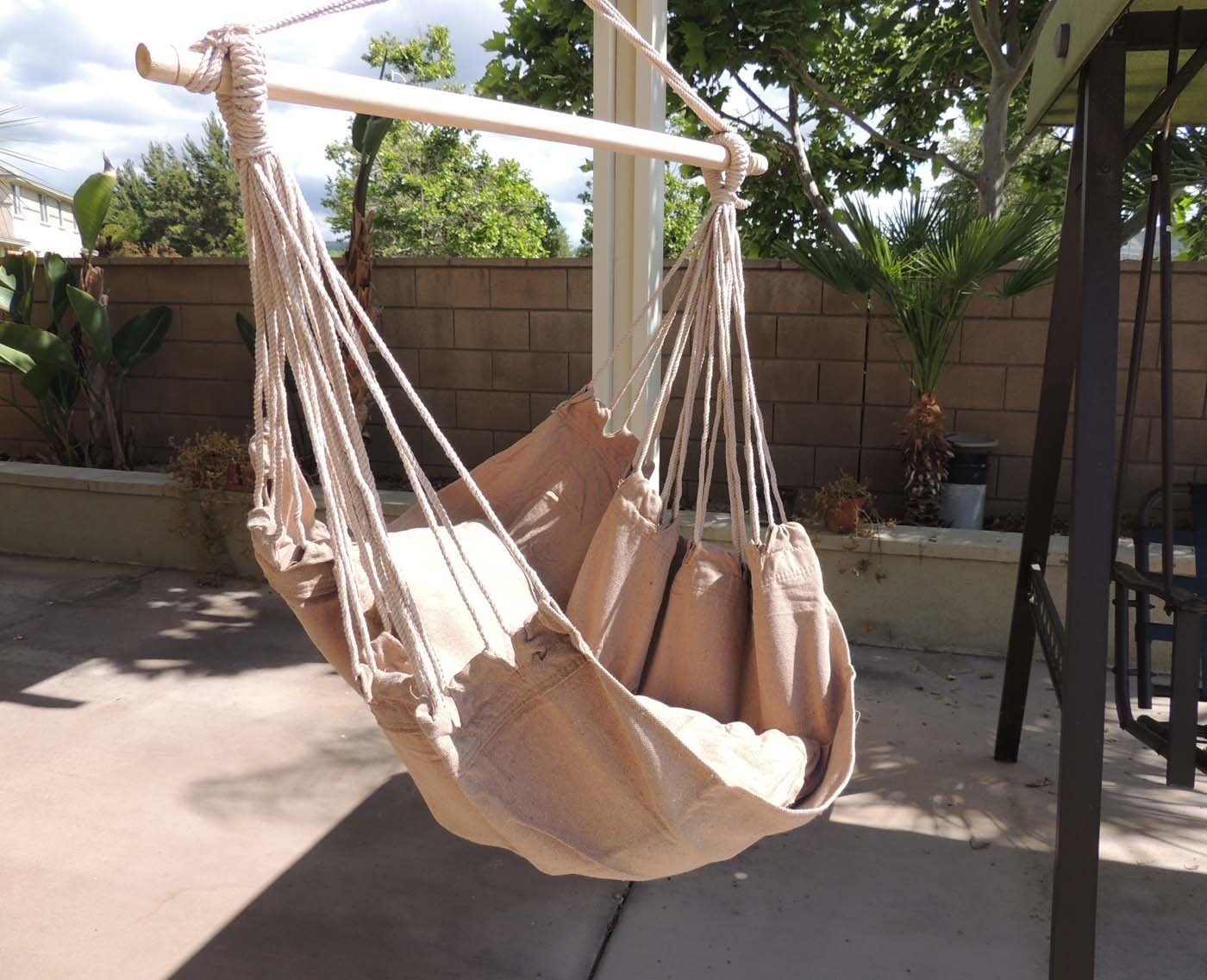 Amazon.com: Hammock Chair Hanging Rope Chair Porch Swing Outdoor Chairs  Lounge Camp Seat At Patio Lawn Garden Backyard Tan: Garden U0026 Outdoor