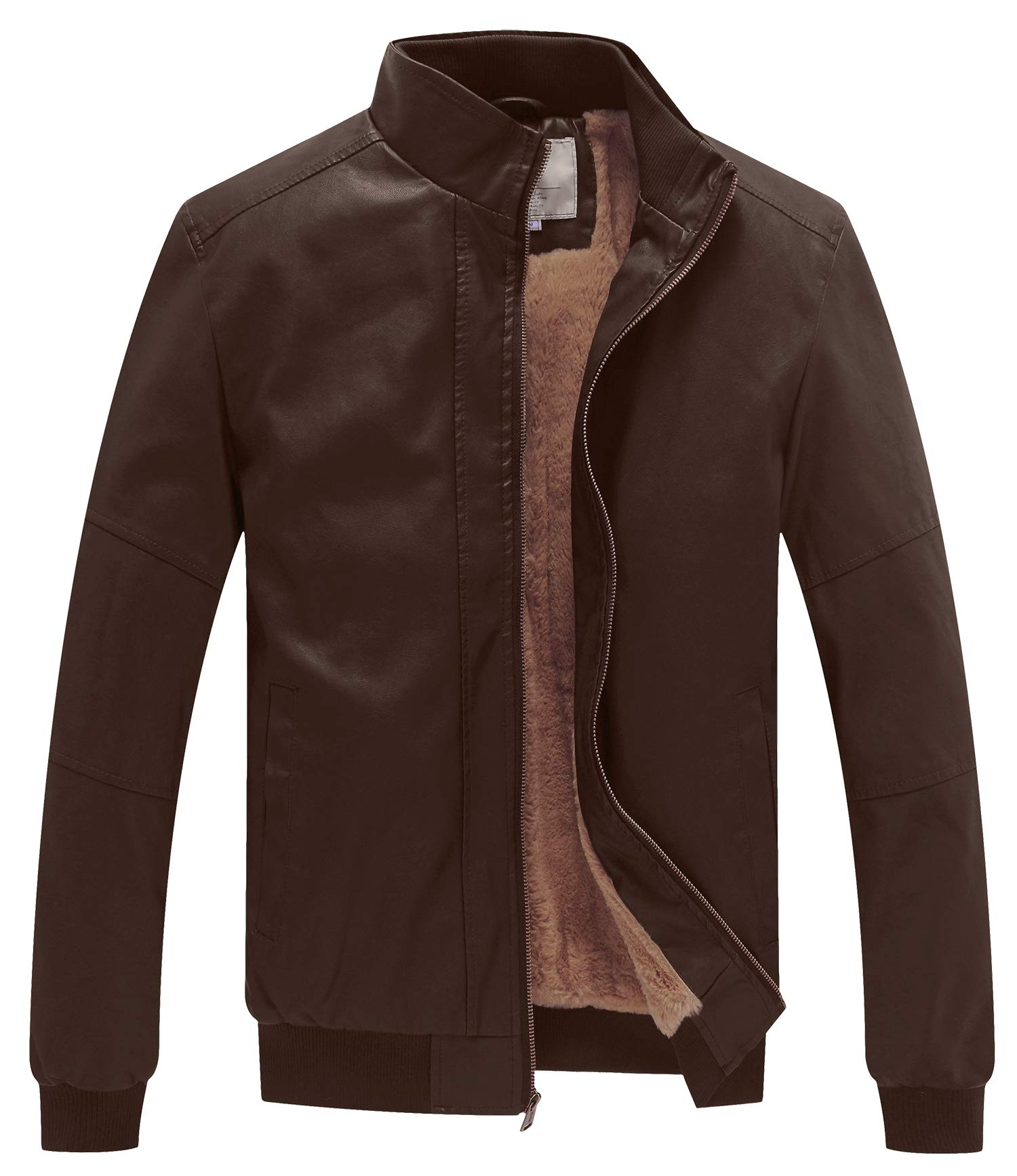 WenVen Men's Classic Star Lord Style Coat Faux Leather Motorcycle Jacket Brown Medium by WenVen