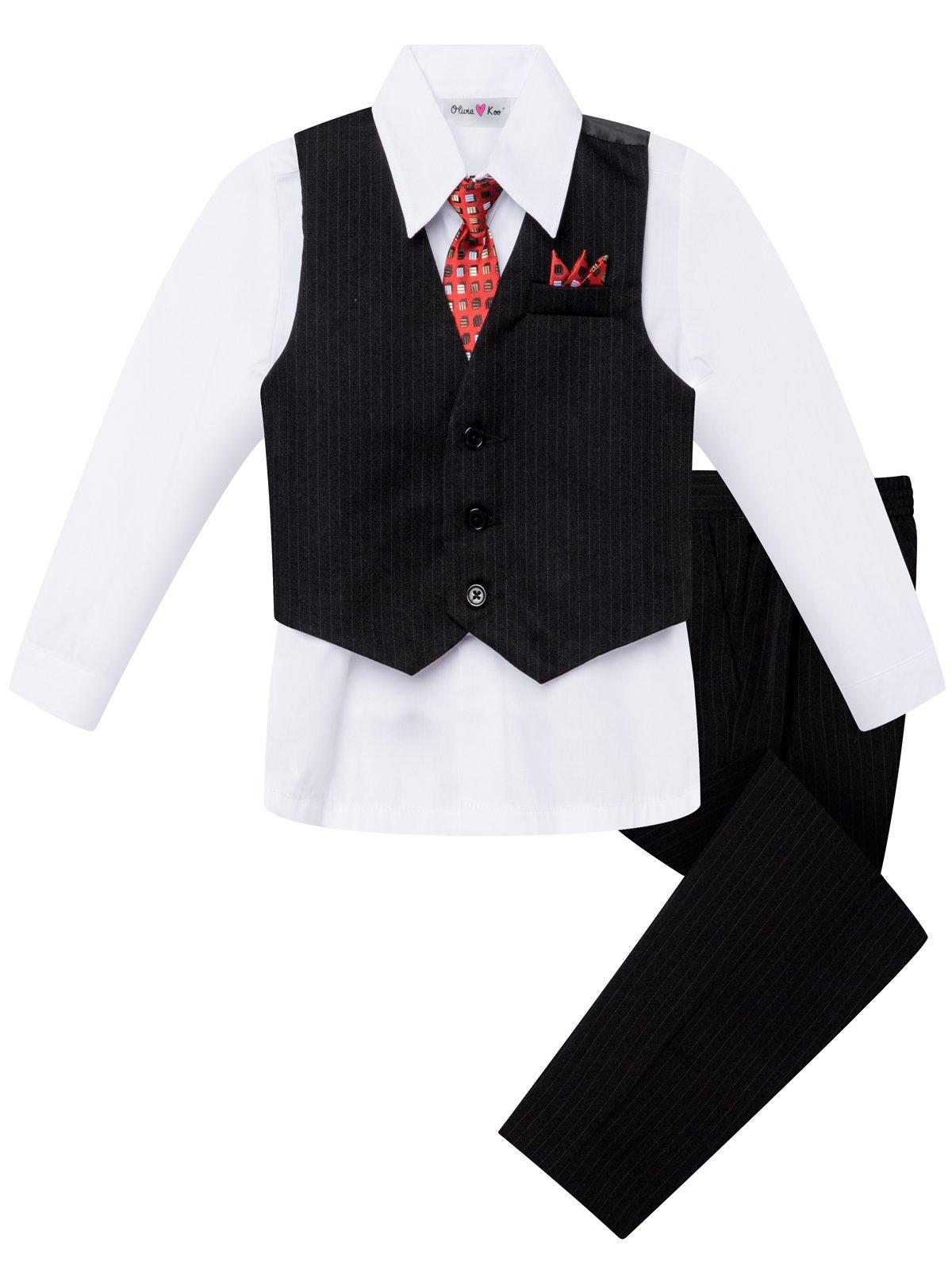 OLIVIA KOO Boys Colored Shirt Pinstripe 4 Piece Pinstriped Vest Set ,01 White,8