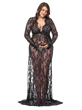 e9a4422f0ab Image Unavailable. Image not available for. Color  JustVH Maternity Plus  Size Sexy Deep V-Neck Long Sleeve Lace See-Through Maxi