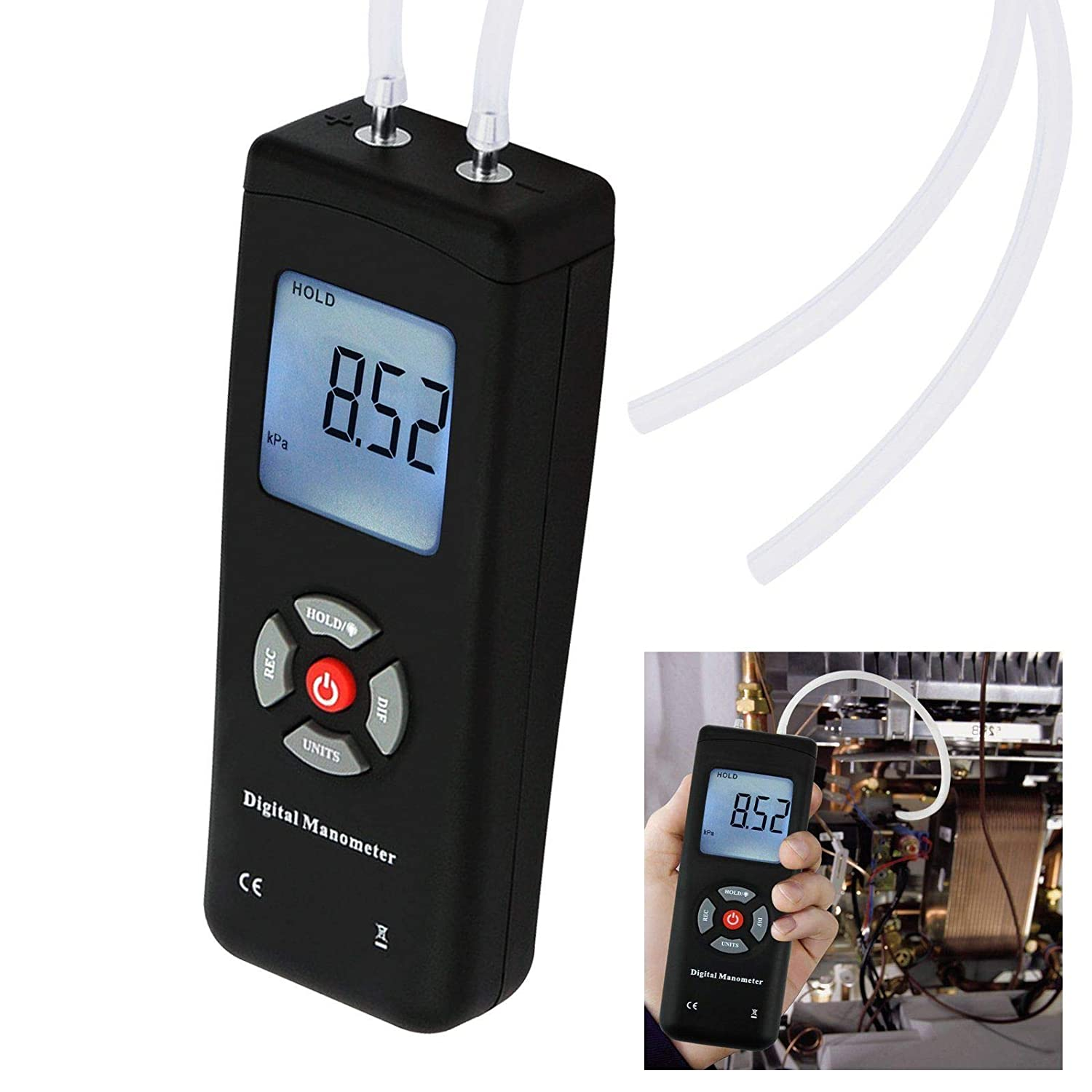 Digital Handheld Manometer HVAC Air Vacuum/Gas Differential Pressure Gauge Meter Tester 11 Units with Backlight, ±13.78kPa ±2PSI, 1-2 Pipes Ventilation Air Condition System Measurement