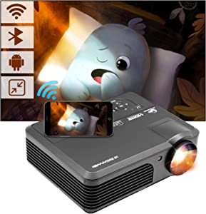 Smart Home Theater Projector Outdoor Android WiFi Bluetooth Projector 4600Lumens Digital Wireless HD LCD LED Video Proyector HD 1080P HDMI USB VGA AV Audio Zoom for Smartphone Gaming Laptop PC DVD PC