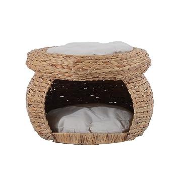 Pawhut gato perro cama Caseta gato cabaña gato cueva de ratán Dormir Espacio con 2 Suave Cojín: Amazon.es: Productos para mascotas