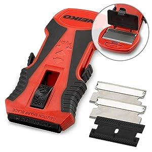 Neiko 00885A Mini Retractable Razor Scraper with Patented Blade Storage | 1-Piece Plastic Scraper Attachment and 2-Piece Razor Blades Included