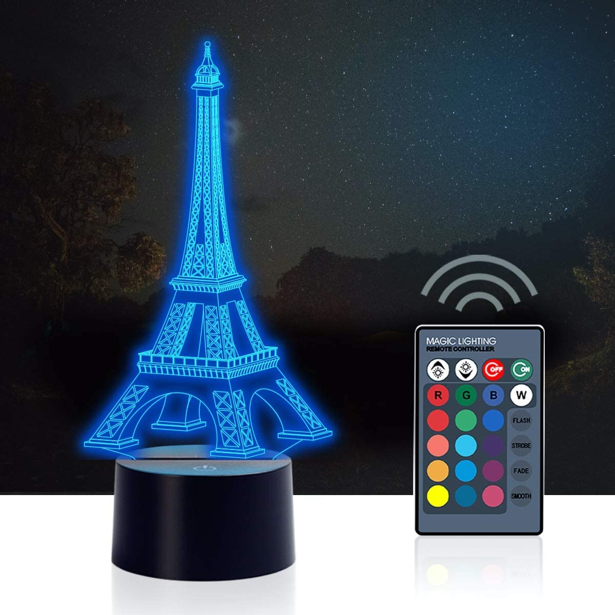 Urwise romantic Eiffel Tower in Paris France 3D Optical Illusion Night Light,7 Colors Changing,Smart Touch Button USB Powered,Amazing Creative Art Design for Home Decor ZB-2821