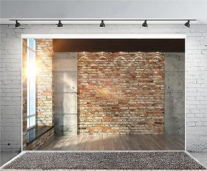 Leyiyi 7x5ft Photography Background Modern Room Interior Backdrop Vintage Brick Wall Window Sunlight Wooden Floor Cement Marble Study Inside Bedroom