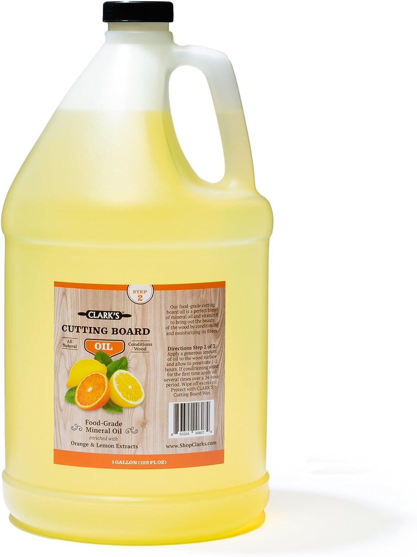 Butcher Block Oil (1 Gallon) by CLARK'S | Food-Grade Cutting Board Mineral Oil & Conditioner | Chef - Woodworker - Restaurant Gallon Size