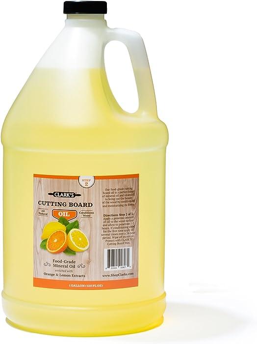 Butcher Block Oil (1 Gallon) by CLARK'S   Food-Grade Cutting Board Mineral Oil & Conditioner   Chef - Woodworker - Restaurant Gallon Size