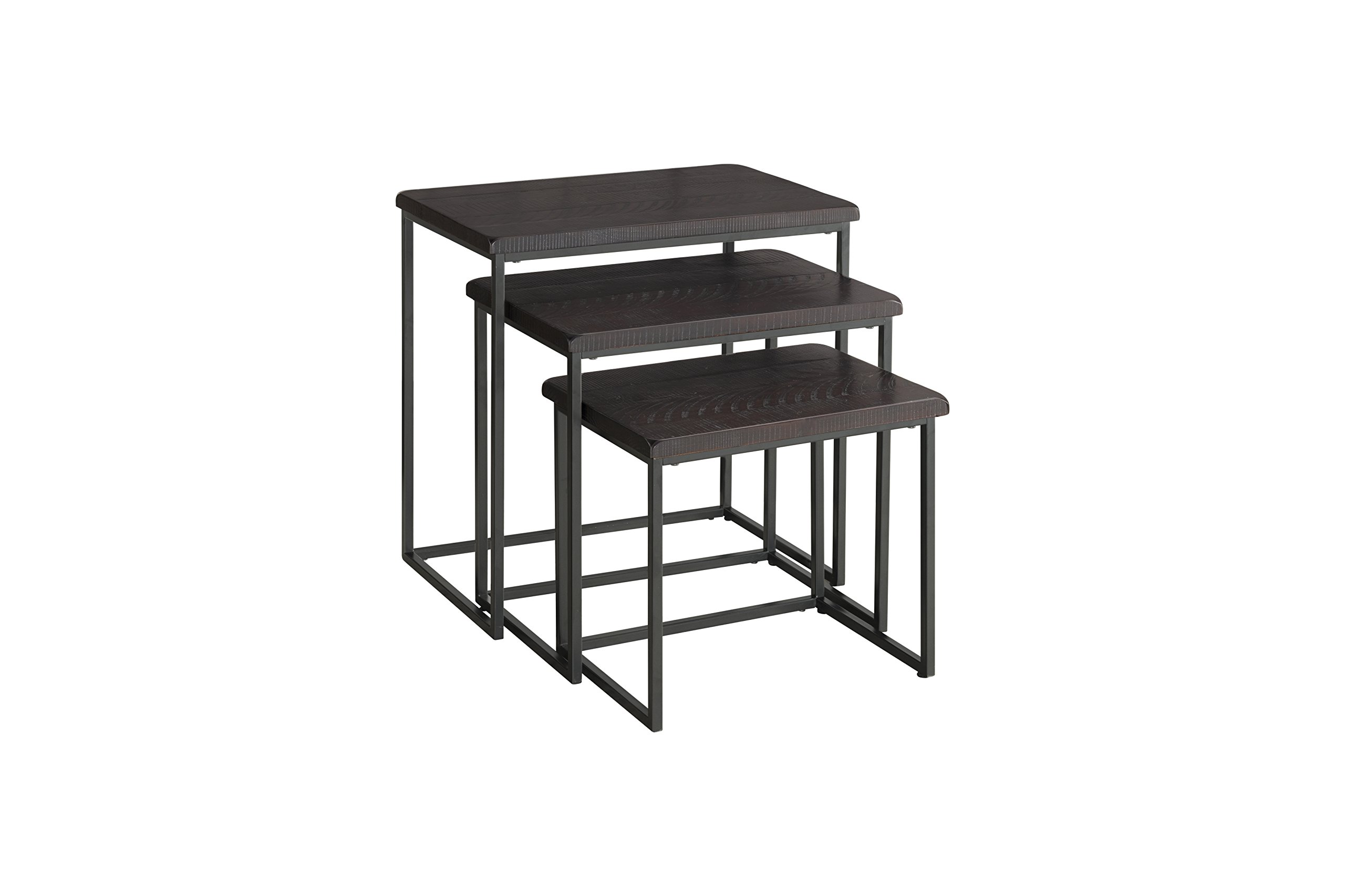 Martin Svensson Home 890558 Rustic Collection Solid Wood & Metal 3 Piece Nesting Table, Espresso by Martin Svensson Home