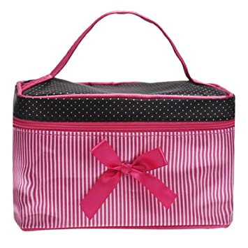 Amazon.com : Bowknot Dots Printing Satin Makeup Bags Cute Stripe Fashion Toiletry Bag : Beauty