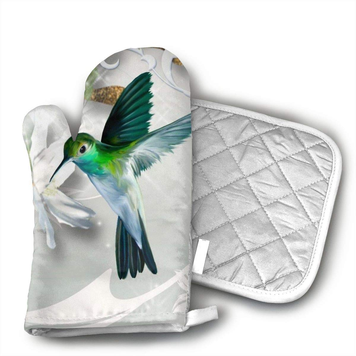 CHWEYAQ Hummingbird Oven Mitts and Pot Holders Set of for Kitchen Set with Cotton Non-Slip Grip
