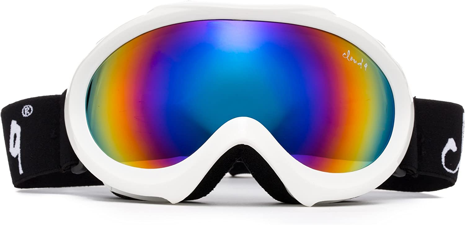 Cloud 9 – Professional Kids Boys Girls Toddlers Ski Goggles Anti-Fog Dual Lens UV400 Protection Triple Layered Foam Snowboarding Snow Goggles in White with Flash Mirror Lens