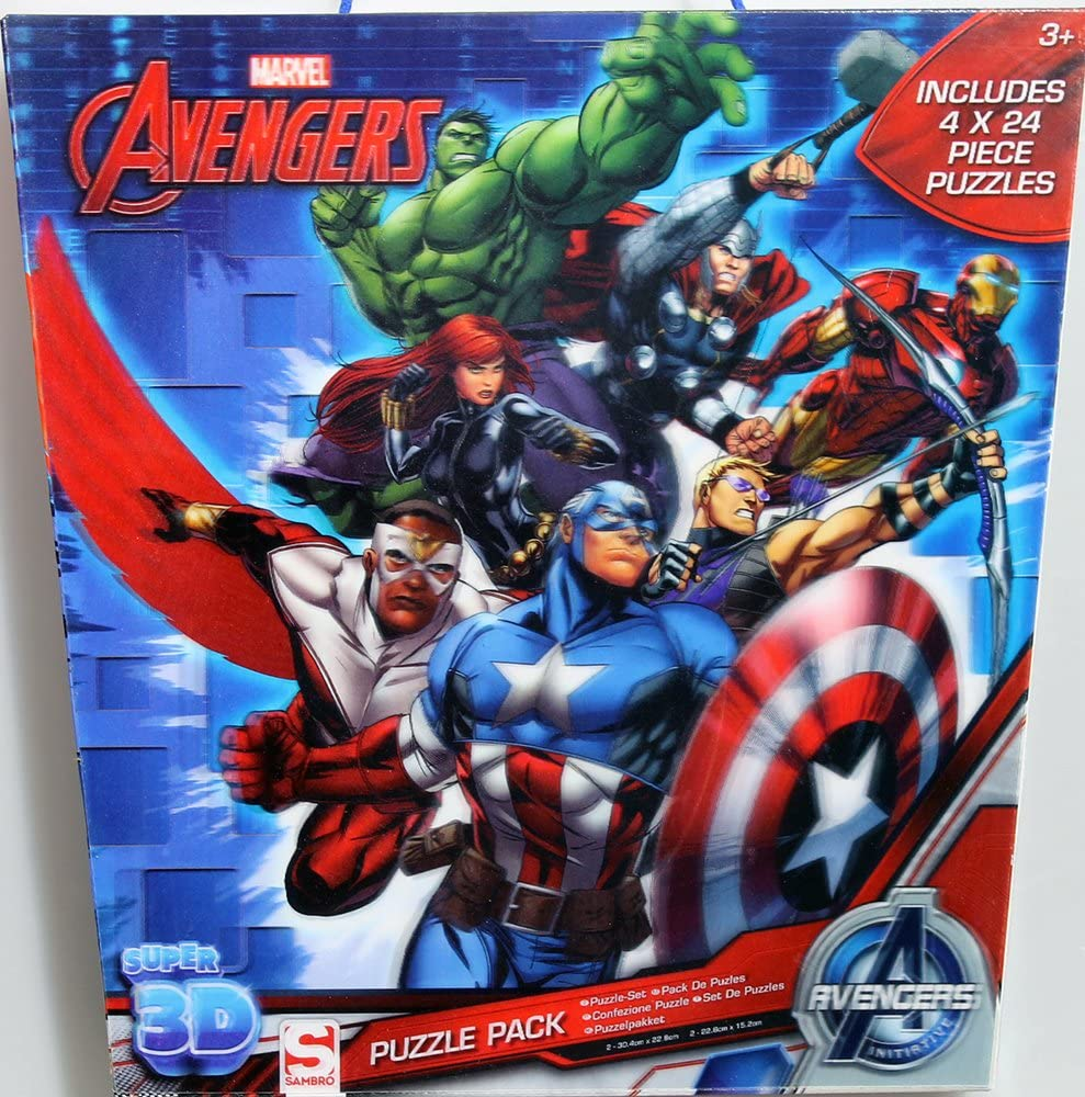 Sambros AVE-5596 Marvel Avengers Lenticular 3D Puzzle Set (Pack de ...