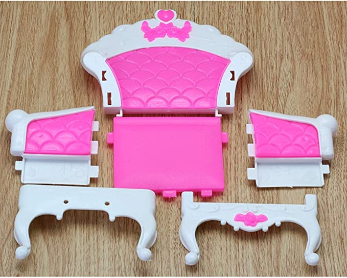 EPRHY Dollhouse Furniture Living Room Parlour Sofa Set for Accessories Long Sofa Chairs,Vintage Desk Lamp Tea Table for Dolls House Action Figures 6PCS