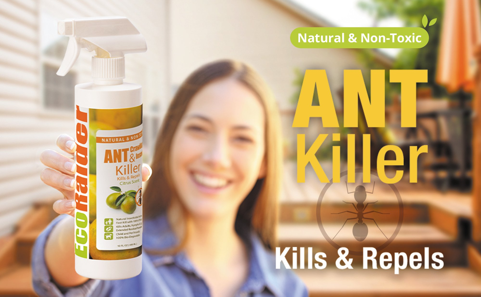 EcoRaider Ant Killer & Crawling Insect Killer (Citrus Scent) 16 OZ, Natural & Non-Toxic by EcoRaider (Image #3)