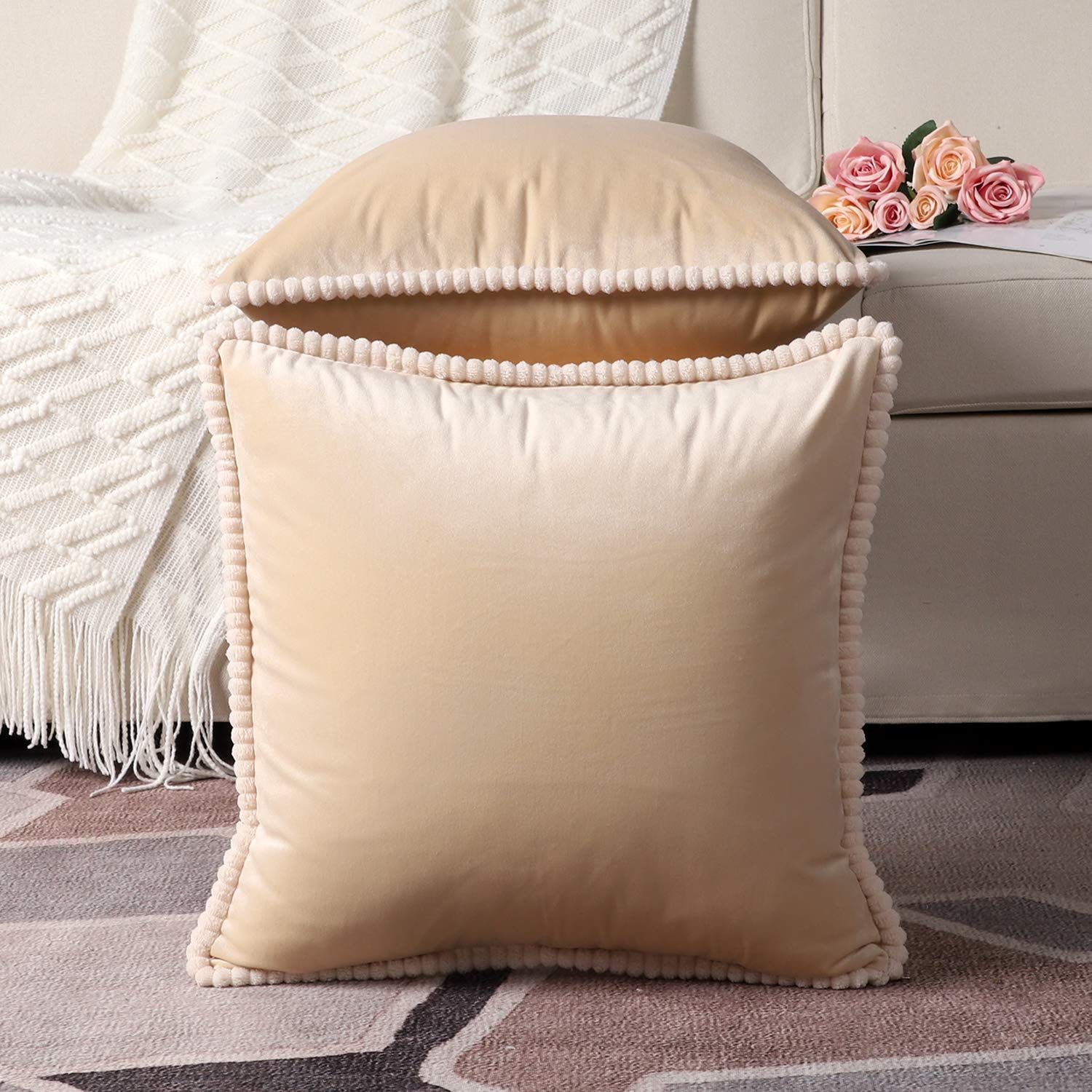 Buy Madizz Pack Of 2 Super Soft Velvet Throw Pillow Covers With Corduroy Fringe Decorative Soft Plush Cushion Case Pillow Shell For Sofa Bedroom Square Beige 20x20 Inch Online At Low Prices