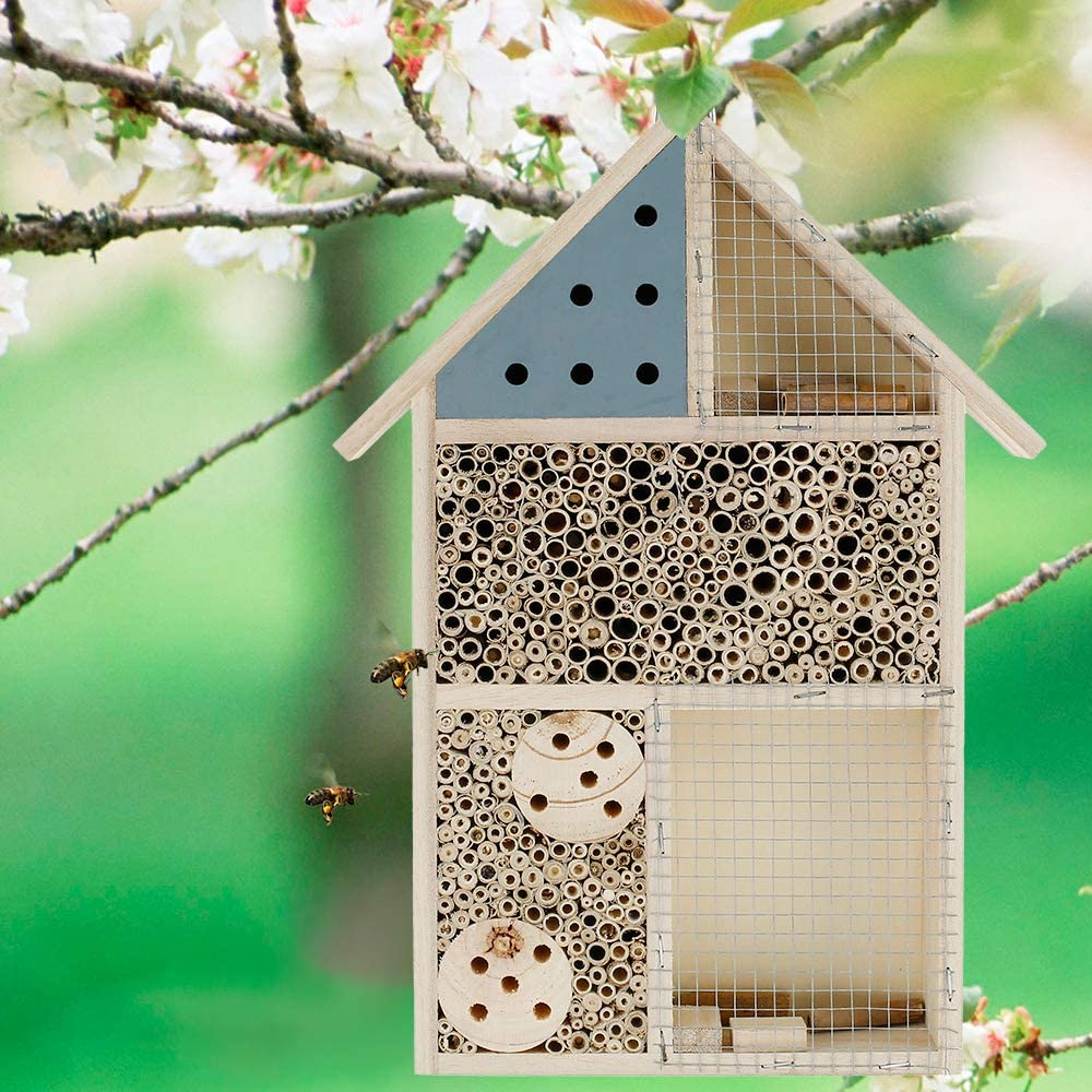 Blue Eco-Friendly Bug House,Shelter Bamboo Nesting Habitat for Bees Butterflies Ladybirds Insects in Garden Wood Insect Hotel